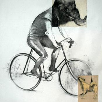Teoksen nimi: Mammutti pyöräilee