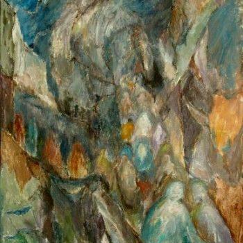 Teoksen nimi: Afgaaninaisten pako  v. 2001  100 x 80 cm