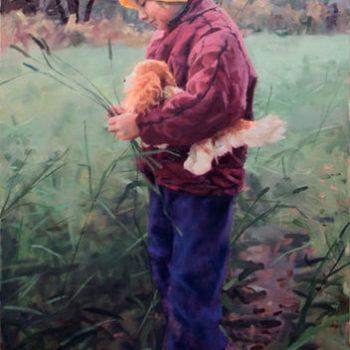 Teoksen nimi: Girl in a meadow,2013. Oil on canvas 110x70cm. Tyttö niityllä.