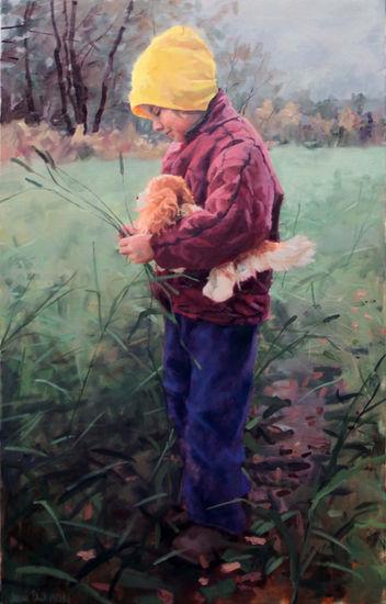 Girl in a meadow,2013. Oil on canvas 110x70cm. Tyttö niityllä.