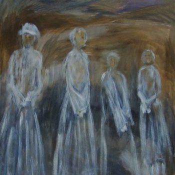 Teoksen nimi: Kallioilla kasvaneet  120 x 80 cm   v. 2009