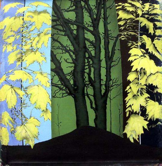 Keltaiset lehdet,  akryyli kankaalle, 80×80 cm