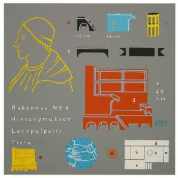 Teoksen nimi: Rakennuspiirustus,Hieronymuksen lukupulpetti, 2004