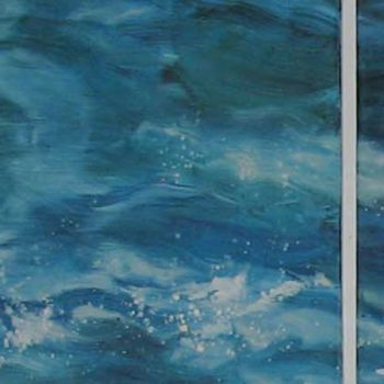 Teoksen nimi: virralla, 2010 (osa teosta), tempera kankaalle