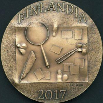 Teoksen nimi: Finlandia 2017, kansainvälisen filateliatapahtuman muisto- ja palkintomitali