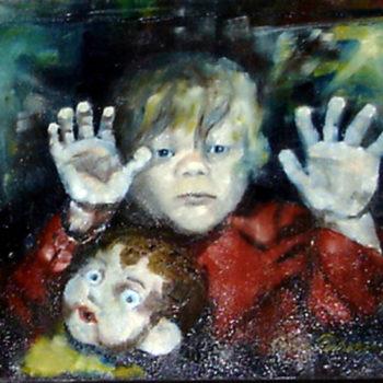 Teoksen nimi: Sivulliset, 1989, öljy kankaalle, 38 x 46 cm