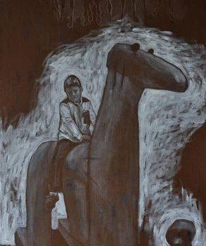 Teoksen nimi: Seuraava askel. 2012. 90×50. Akryylimaalaus