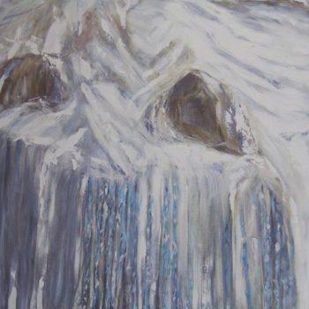 Teoksen nimi: Jääpuikot  120 x 100 cm   v. 2009