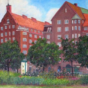 Teoksen nimi: Näkymä Sammon puistikosta Runeberginkadulle