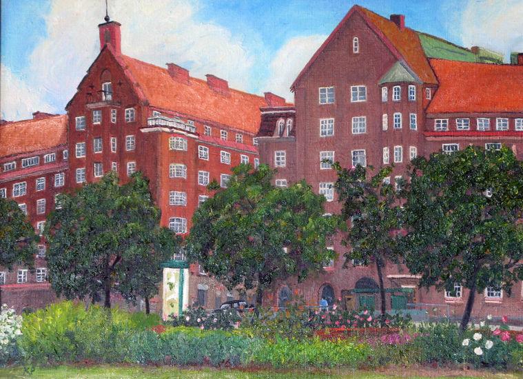 Näkymä Sammon puistikosta Runeberginkadulle