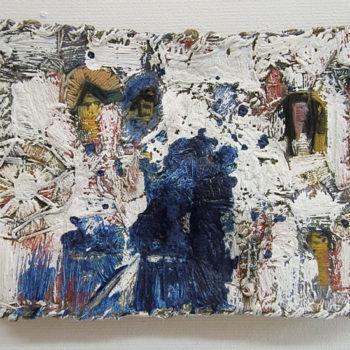 Teoksen nimi: Salamajassa kuin kohdussa, pigmentti, akryyli, ready made, 26 x 34 cm, 2011