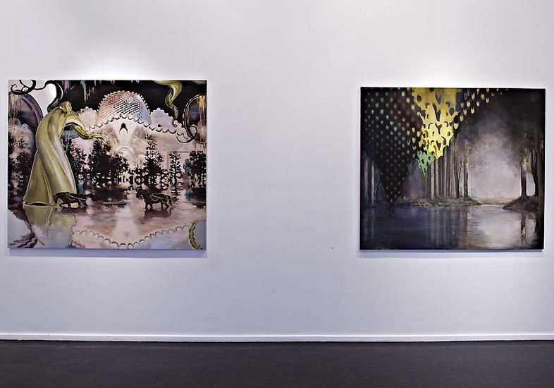 2 maalausta näyttelystä 2011, 1. Last Trip to Madra Island,  2. Derrière le Paysage  i