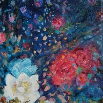 Teoksen nimi: Kukkia, Meri (Nocturne) / Flowers, Sea (Nocturne) 2015 öljy kankaalle, oil on canvas 28×18 cm