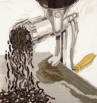 Teoksen nimi: Pimeän aine. Puupiirros, 2012, 61 x 38 cm