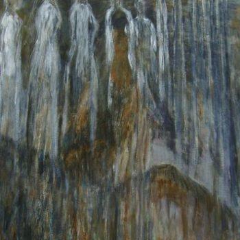 Teoksen nimi: Kuoro ja jääurut   120 x 80 cm  v. 2009