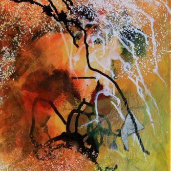Teoksen nimi: Crystalline,Water, Ice, Cave  akryyli (sekatekniikka)  kankaalle, acrylic and mixed media painting on canvas 41×33 cm 2015