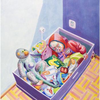 Teoksen nimi: Ursula nukkuu lelulaatikossa / Ursula Sleeps in Toybox