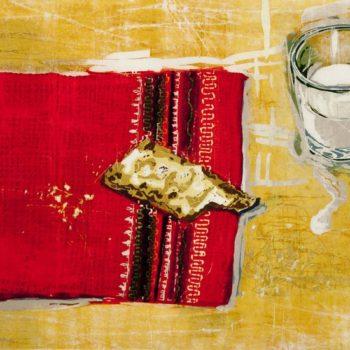 Teoksen nimi: Alussa. Puupiirros, 2012, 43 x 61 cm