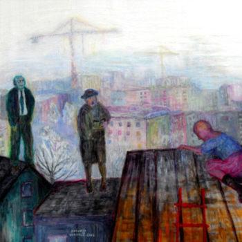 Teoksen nimi: TAIVAS KATTONA, akryyli pleksille, 80x100cm, 2012