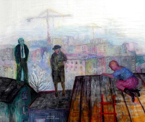 TAIVAS KATTONA, akryyli pleksille, 80x100cm, 2012