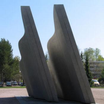 """Teoksen nimi: Sotainvalidien muistomerkki """"Tulen halki"""" 1981, Kauniainen"""