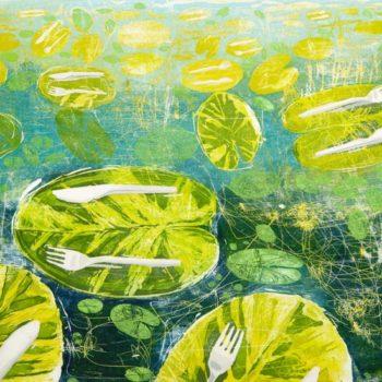Teoksen nimi: Syödään se pois. Puupiirros, 2012, 50 x 115 cm