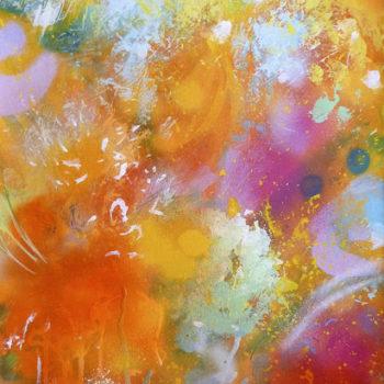 Teoksen nimi: Bouquet (orange) watercolour and acrylic on aquarelle paper 38×28,5 cm (54×44 cm with frame) 2018.