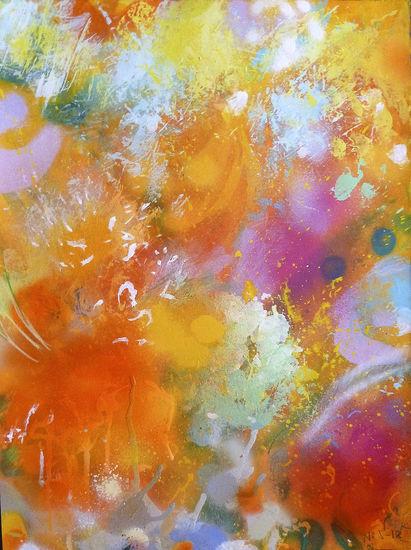 Bouquet (orange) watercolour and acrylic on aquarelle paper 38×28,5 cm (54×44 cm with frame) 2018.