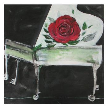 Teoksen nimi: Ruusu. Rose. 73 x 73.