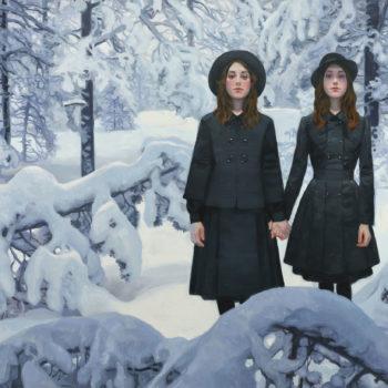 Teoksen nimi: Kaksoset lumisessa metsässä IV, 2020