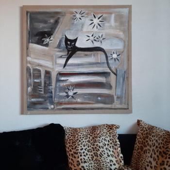 Teoksen nimi: Kissankukkia. Catflowers. 100 x 100. Akryyli. 2021.