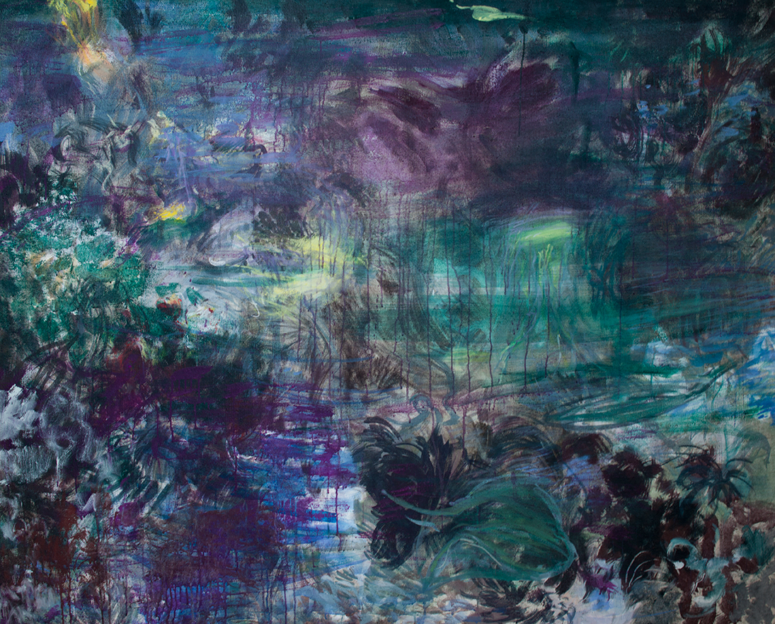 Meduusoja, tempera,2015 120×160