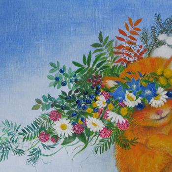 Teoksen nimi: Kuvitus lastenkuvakirjaan Opri-kissan onnenvuosi