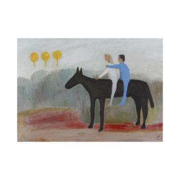 Teoksen nimi: Sinivalkoinen ratsastaja/Blue-and-white rider