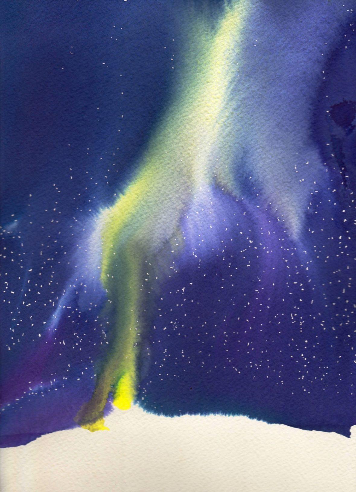 Aurora Borealis-sarja, akvarelli 2015-