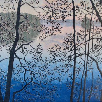 Teoksen nimi: Verhottu maisema III, Curtained Landscape III