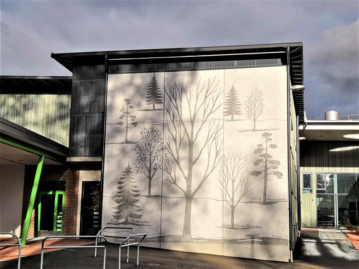 Nepenmäen koulun 3 graafista betoniseinää III