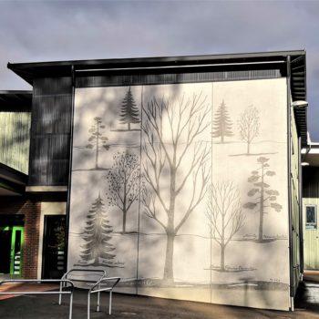 Teoksen nimi: Nepenmäen koulun 3 graafista betoniseinää III