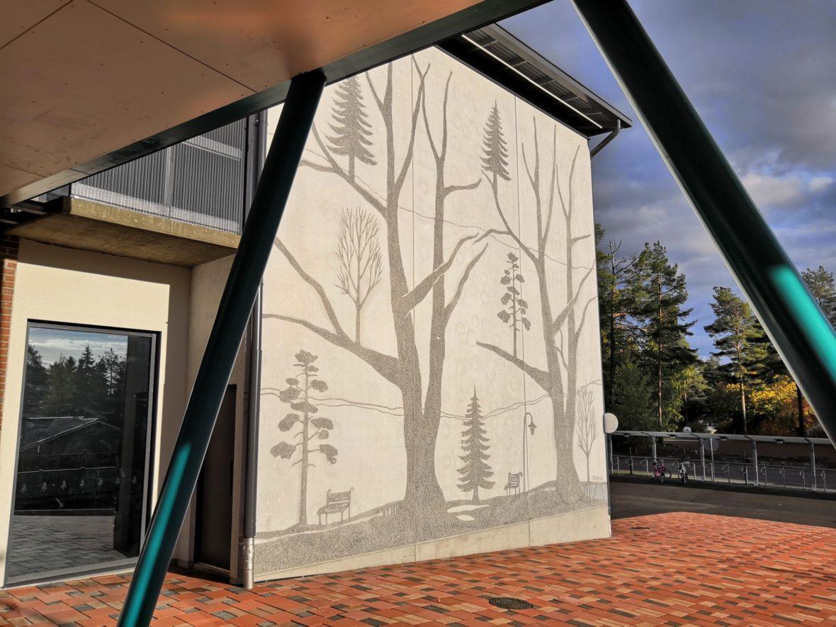 Nepenmäen koulun 3 graafista betoniseinää I