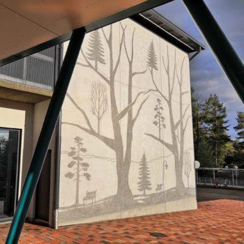 Teoksen nimi: Nepenmäen koulun 3 graafista betoniseinää I