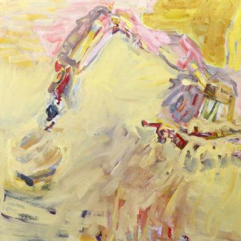 Teoksen nimi: Keltainen kaivinkone  / An Yellow Excavator