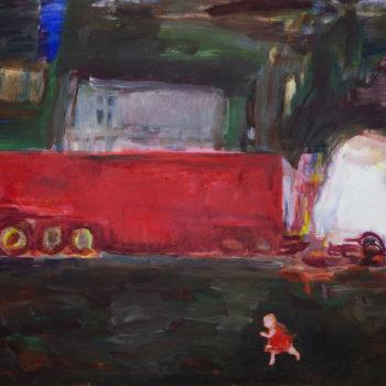 Teoksen nimi: Tyttö ja rekka  / A Girl and a Truck