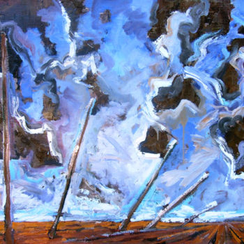 Teoksen nimi: Vihaiset pilvet ja kaatuvat paalut