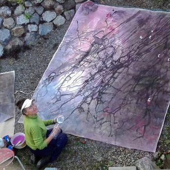 Name of the work: Villiviinin luona, ulkoilmamaalausta