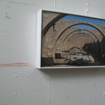 Teoksen nimi: Cretan road movie by foot, photography 30 x 20 cm  / installation, 2020