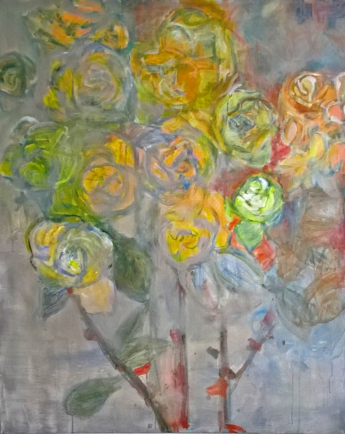 Ruusut,  akryyli kankaalle, 140×115, 2017