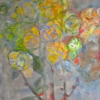 Teoksen nimi: Ruusut,  akryyli kankaalle, 140×115, 2017