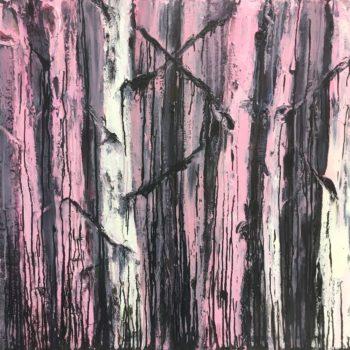 Teoksen nimi: Vaaleanpunainen koivu – Sarjasta Mustamaalaus (Koivu ja tähti)