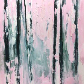 Teoksen nimi: Vaaleanpunainen koivu – Sarjasta Abstraktimpi (Pink Birch Series: More Abstract)