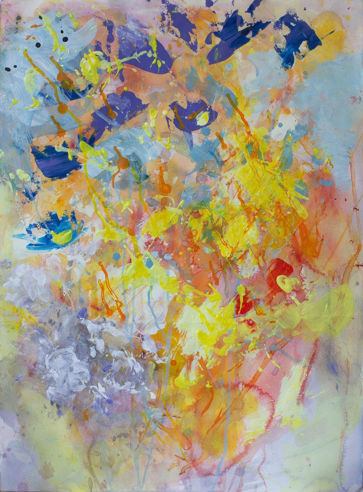 Nanna Jalkanen Bouquet akvarelli ja akryyli vesiväripaperille 74,5×55 cm työn koko ja 91×72 cm kehyksineen 2018